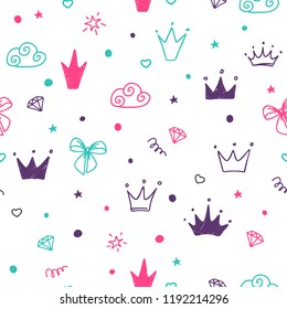 Hand drawn seamless pattern with doodle colored crowns. Cute baby and little princess design.