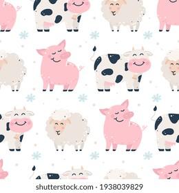 Hand drawn seamless pattern with farm animals.