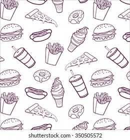 Hand drawn seamless pattern of fast food