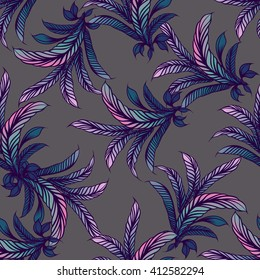 Hand drawn seamless pattern with Feathers. Hand drawn boho illustration.