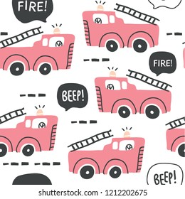 Hand drawn seamless pattern with fire trucks in scandinavian style isolated on white. Perfect for t-shirt print design and textile
