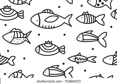 Hand drawn seamless pattern with fishes. Background with doodle fish. Vector illustration