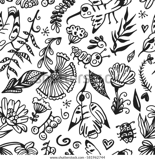 Hand drawn seamless pattern with floral elements, birds and insects. Vector spring background for valentine's day, wedding, greeting card, prints.
