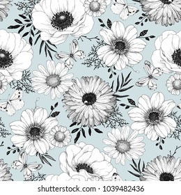 Hand drawn seamless pattern with flowers Anemone, Calendula, Chamomile and Dahlia, flying butterlies, leaves and branches. Vector nature illustration in vintage style.