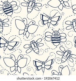 hand drawn seamless pattern with hand drawn fly, moth and butterfly