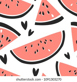 Hand drawn seamless pattern with fruit. Vector artistic drawing food. Summer illustration watermelon