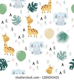 Hand drawn seamless pattern with giraffe,elephant,leaf and geometric