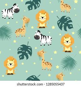 Hand drawn seamless pattern with giraffe,lion,zebra,leaf and star
