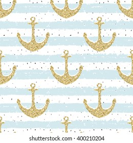 Hand drawn seamless pattern. Gold glitter anchor on striped repeat  background, wrapping print. For wrapping paper, wallpaper, card, poster, banner, invitation