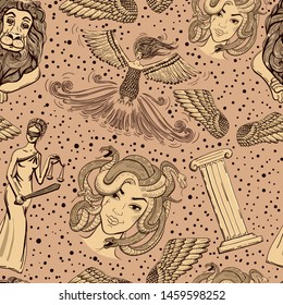 Hand drawn seamless pattern in Greek style. Goddess Themis, garpia, gorgon, columns, lion statue, wings. For textile, print, fabric, wrapping paper. Vintage.
