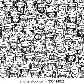 Hand drawn seamless pattern of a group of cartoon students with graduation caps and their degree in their hands - black and white illustration