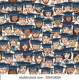 Hand drawn seamless pattern of a group of cartoon students with graduation caps and their degree in their hands