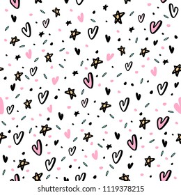 Hand drawn seamless pattern with hearts and stars