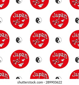 Hand drawn seamless pattern with Japan culture elements. Japan flag with yin yang background for design. Travel vector illustration