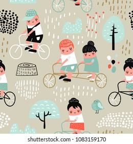 Hand Drawn Seamless Pattern with Kids on Bicycle. Creative Childish Background with Cute Boys and Girls on Bikes for Fabric, Textile, Wallpaper, Decoration, Prints. Vector illustration