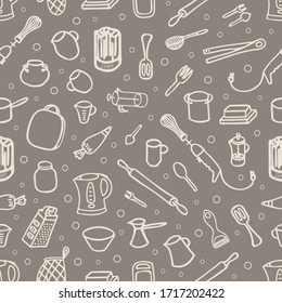 Hand drawn seamless pattern 'kitchen tools'. Vector illustration. EPS 10