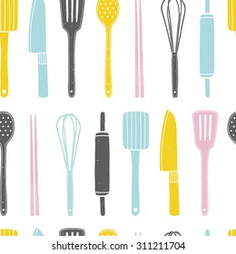 Hand drawn seamless pattern with kitchen utensils on the white background. Cooking vector repeating background for kitchen fabrics, paper napkins, wallpapers. Pattern is cropped with clipping mask