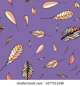 Hand drawn seamless pattern with leaves in autumn color
