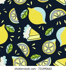 Hand drawn seamless pattern with lemons. Doodle wallpaper vector. Colorful and bright illustration with fresh fruits.