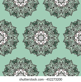 Hand drawn seamless pattern with mandalas. Endless texture can be used for wallpaper, textile, pattern fills, web page background.
