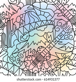 Hand drawn seamless pattern. Mexican theme. Elements of doodles. Monochrome isolated outline on a blurred colored background.