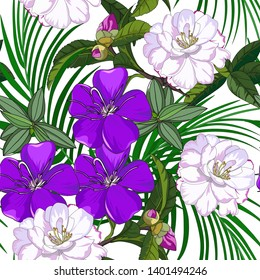 hand drawn seamless pattern of mixed pink camellia floewer and purple melastoma candidum on white background