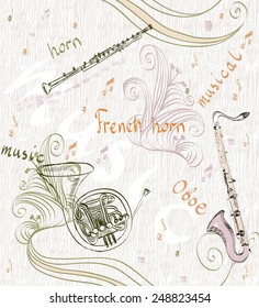 hand drawn seamless pattern of  musical instruments