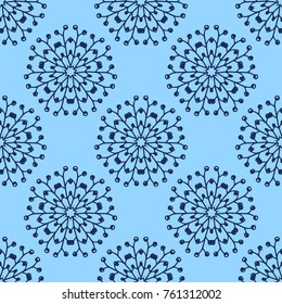Hand drawn seamless pattern nature floral dandelion or snowflake on blue background vector.