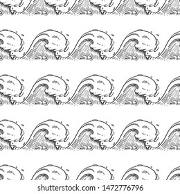 Hand Drawn seamless pattern ocean wave doodle. Sketch style icon. Isolated on white background. Flat design. Vector illustration.