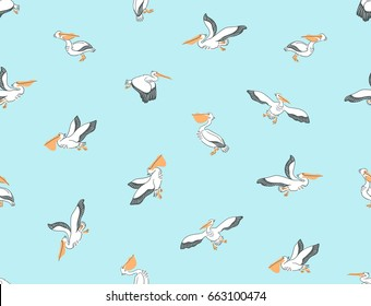 Hand drawn seamless pattern with pelicans. Vector background with birds.