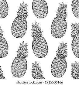 hand drawn seamless pattern from pineapple. Vector illustration. Endless picture.  Doodle. Sketch.