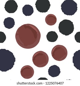 Hand Drawn seamless pattern polka dots two in colors. Elements are not cropped. Pattern under the mask. Vector. Perfect design for posters, cards, textile, web etc.