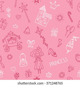 hand drawn seamless pattern with princess girl doodle design elements sketchy fairy tale princess on