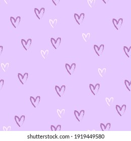 hand drawn seamless pattern with purple and white little hearts