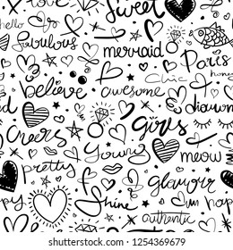 Hand drawn seamless pattern repeating texture background with hearts and letterings / Design for fashion fabrics, textile graphics, prints, wallpapers etc