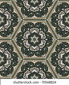 Hand drawn seamless pattern in retro style. Could be used as wallpaper, wrapping paper, textile, etc