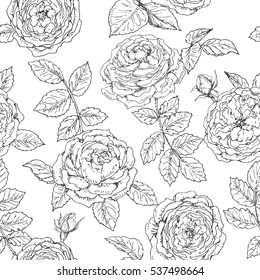 Hand drawn seamless pattern with roses. Black and white doodle floral elements. Monochrome flowers and leaves. Vector sketch.