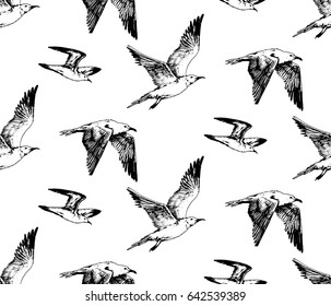 hand drawn seamless pattern with seagull flying and sitting sea birds. beach vintage theme
