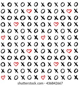 Hand drawn seamless pattern with simple paint XO. Abstract background with brush strokes. Trendy hipster ink doodles. Vector illustration.  Ideal for cards, posters, invitations.