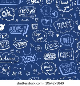 Hand drawn seamless pattern of speech bubbles with dialog text: Hi, Love, Yes, Welcome, Bye.