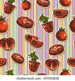 Hand Drawn Seamless Pattern with Tomatoes on Striped Background Sketch of vegetables, Tomatoes.  Vector Design Menu Element.
