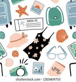 Hand drawn seamless pattern with travel objects: suitcase, bag, camera, hat and other stuff. Travel texture, vacation, adventure, journey. Tourism and summer doodle Illustration