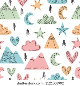 Hand drawn seamless pattern with trees, stars, hearts, clouds and mountains. Creative scandinavian woodland background. Stylish sketch for kids. Cute forest. Vector illustration