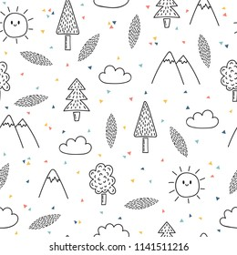 Hand drawn seamless pattern with trees and mountains. Creative ethnic scandinavian woodland background. Abstract geometric art print. Vector illustration