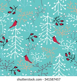 Hand drawn seamless pattern. Trees, birds and berries. Winter forest.