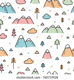 Hand drawn seamless pattern with trees and mountains. Creative scandinavian woodland background. Forest. Vector illustration