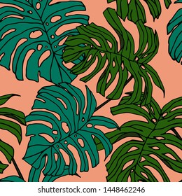 Hand drawn seamless pattern with tropical leaves: palms, monstera, passion fruit. Beautiful allover print with hand drawn exotic plants. Swimwear botanical design. Vector for any purposes
