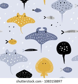 Hand Drawn Seamless Pattern with Underwater Creatures. Creative Childish Background with Fish and Stingray for Fabric, Textile, Wallpaper, Decoration, Prints. Vector illustration