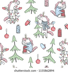Hand drawn seamless pattern with Unicorn and Christmas tree. Design for textile or packaging. Vector illustration.