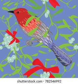 Hand drawn seamless pattern vector illustration of red bird and misletoe plant with red ribon